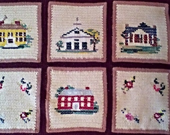 Vintage Granny Square Quilt/Afghan with Cottages and Flowers