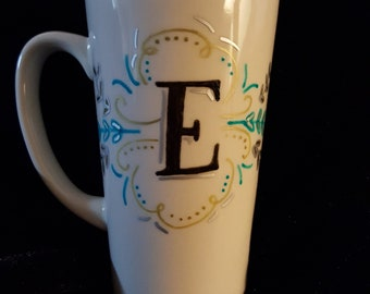 Monogram Wedding Anniversary Gift Hand-painted Custom Personalized Tall Coffee Mug