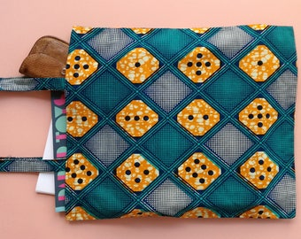 Bag with African print-Aqua, orange