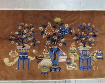 Asian Antique Wool Rug With Fine Beautiful Floral Patterns picture vases flowers
