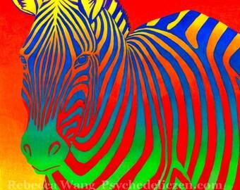 Psychedelic Rainbow Colorful Zebra Giclée Fine Art Print