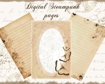 Steampunk Digital journal pages Download