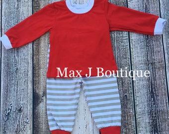 Monogrammed Gray Stripe Childrens Christmas Pajamas- Personalized Christmas pjs