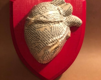 Anatomical Heart Wrapped in Edgar Allan Poe -- Wall Plaque