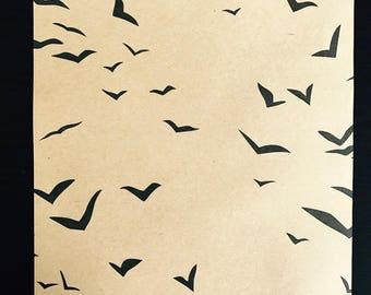 Leaf decorated light kraft - flying birds