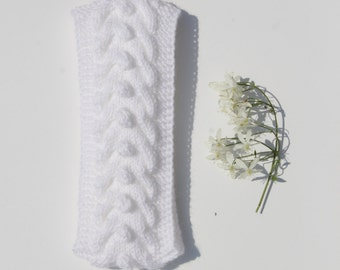 baby head wrap, baby wool headband, white winter baby hair accessory, bridal shower gift, knit baby wool ear warmer, Christmas gift knitted