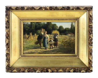 Mother & Child Harvesting the land-Esquisite 19th century Oil Painting  oil painting on board