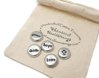 Message Stones - Pocket Tokens - Inspirational stones - Affirmation trinkets - Mantra Pebbles - Pocket pebbles - Religious Christmas gift