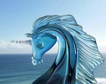 Unicorn | glass sculpture | artist signed