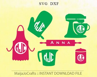 Baking Monogram Design Set, Kitchen svg Files, Bakery SVG DXF files for Silhouette cameo designs  cricut cut file