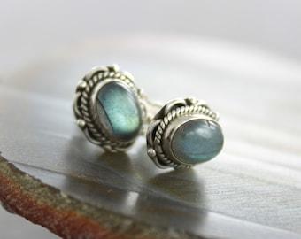 Ornamented gemstone labradorite stud sterling silver earrings - Stud earrings - Gemstone earrings - Post earrings - EP003