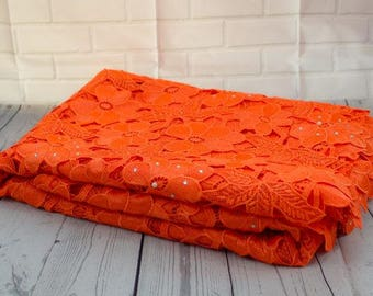 Orange Cosmos Guipure French Lace