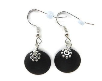 Black Beach Glass Earrings, Simple Black Earrings, Recycled Glass, Black Sea Glass Earrings, Round Black Dangles, Black Drop, Flower Earring