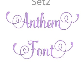 5 Size Anthem Font Embroidery Fonts BX Set 2  9 Formats Embroidery Pattern Machine BX Embroidery Fonts PES