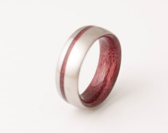 titanium purple heart wood // wide band wood ring // mens wood ring // wood wedding band // mens wedding ring // her him ring