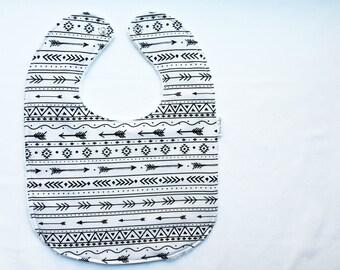 Personalized Baby Bib - Modern Baby Bib - Tribal Baby Bib - Black and White Arrow Bib - Gender Neutral Bib - White Minky Fabric- Handmade