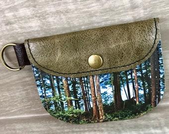 Coin/Card Leather Case, Coastal Forest Digital Print