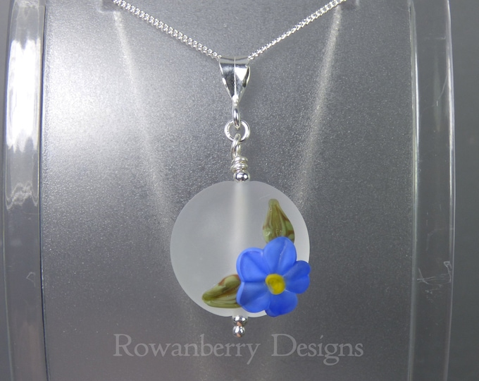 Featured listing image: Forget-Me-Not Pendant and Chain - Art Nouveau Handmade Lampwork Glass & 925 Sterling Silver - Rowanberry Designs SRA - Art- FMNP5