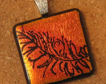 Hand Etched Pendant, Dichroic Feather Pendant, Fused Glass Jewelry, Dichroic Jewelry