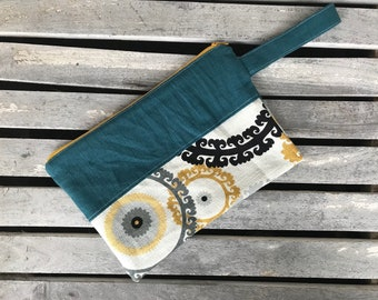 """Linen Clutch One of a Kind Cotton Lined 7""""x10"""""""