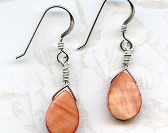 Dark Peach Teardrops Sterling Silver Earrings
