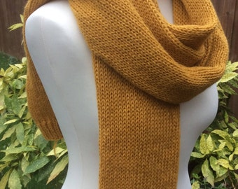 Handmade Wool and Acrylic blend double knit scarf, mustard colour