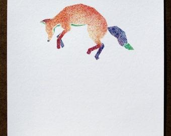 Jumping Fox Stippled Watercolor Painting 8x10 Print