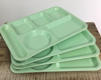 Cafeteria Divided Trays Melamine Mint Green Blue Institutional Hospital Trays Texas Ware Texasware USA Mid Century Serving Ware Stackable