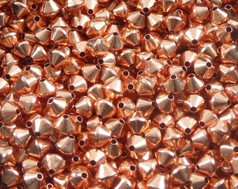 50 pcs - 3 mm copper beads - genuine copper beads - 3 mm beads - copper bicone beads -pure copper findings