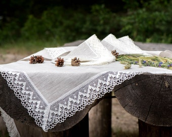 "Linen tablecloth 47"" x 64'' with white linen lace trim, vintage, rustic, wedding, table decoration, hotel, kitchen, flax, celebration"