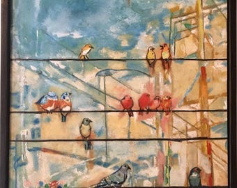 Birds original oil painting framed 8x10 abstract cityscape painting birds on the wire wall art decor