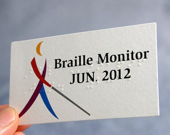 200 Business Cards - Braille - 11 PT matte textured stock  -  full color custom printed