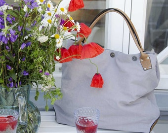 Sand and Sea summer TOTE 5 - - LAVENDEL cotton canvas and CAMEL leather