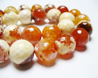 Fire Agate Beads Gemstone Faceted Light Orange Round 10MM