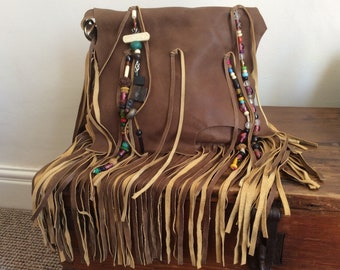 Leather Beaded Fringe Bag, Leather Bag, Brown Leather Tassel Bag, Boho Bag, Fringe Handbag, Leather Shoulder or Cross Body Bag