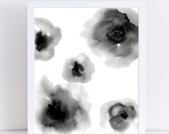 Abstract Watercolor Flowers, Floral Watercolor Print, Minimalist Art, Monochromatic Black and White, Flower Print, Monochrome Artwork