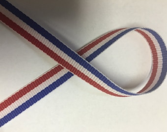 """3/8"""" Tri- Stripe Ribbon - Red White & Blue Grosgrain Stripes  - Select # of Yards  - USA - American Flag - Patriotic - 4th of July - Offray"""
