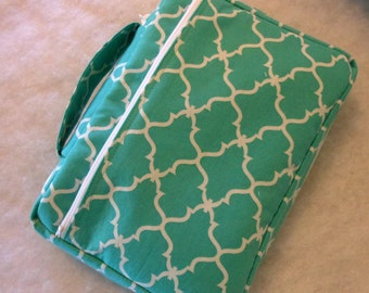 Bible Cover Teal and White Your Book Measurements Required