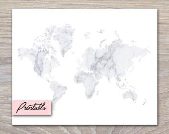 White Marble World Map - PRINTABLE