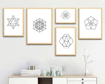 Geometry Shapes and Lines, Abstract printable art, gift ideas, home decoration wall art, digital download, print at home, 19-27