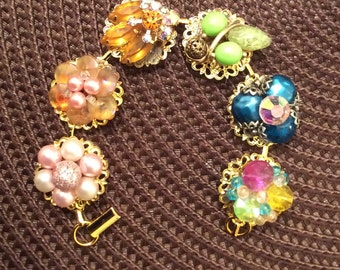 Upcycled Bracelet Featuring Vintage Earrings