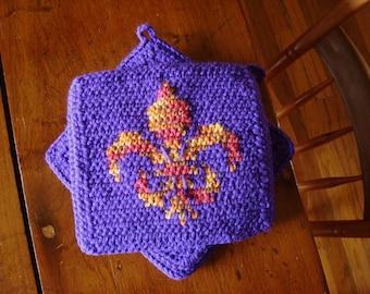 Fleur De Lis Potholders - Design Potholders - Purple Potholders - Crochet, Crocheted Potholders, Pot Holders, Hot Pad, Kitchen MADE TO ORDER