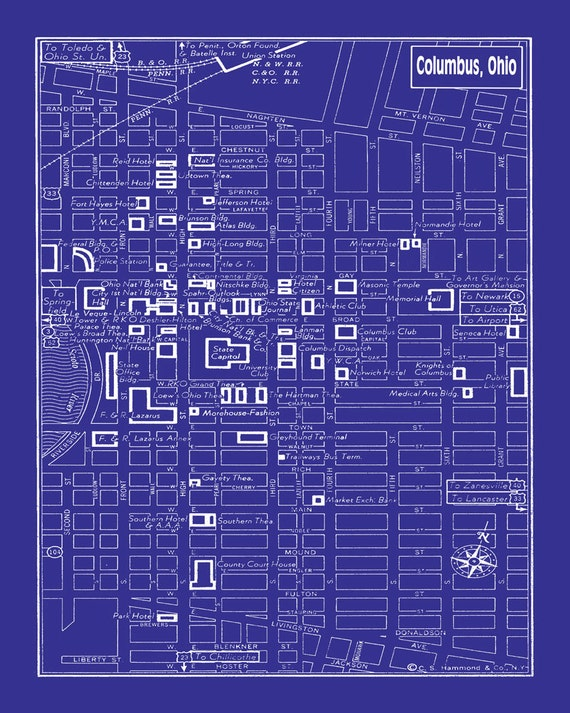 Columbus ohio vintage map of downtown columbus blueprint map like this item malvernweather Choice Image