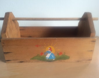 Hand Painted Old Wood Garden Tool Box