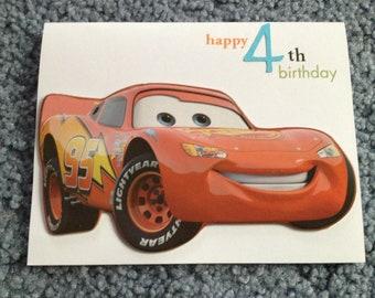Lightning McQueen 4th Birthday card