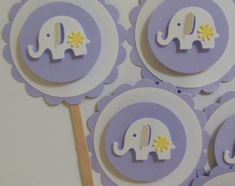 Elephant Cupcake Toppers - Lilac and White - Girl Baby Shower Decorations - Girl Birthday Party Decorations - Set of 6