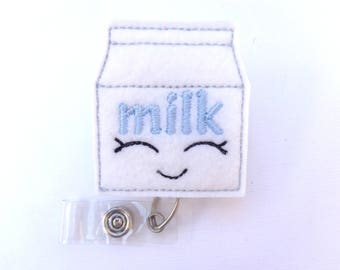 Retractable badge holder - Milk badge reel - white felt milk carton - nurse badge reel medical badge reel - nutritionist