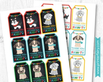 Dog Birthday Party, Puppy Thank you tags, Puppy favor tags, Dog birthday party, Digital files, Instant download