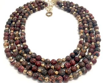 The Danique Burgundy Statement Necklace, Layered Statement Necklace, Stone Bead Necklace, Statement Jewelry, Gift for Her, Chunky Necklace