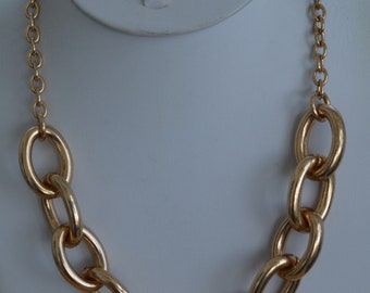 "Gold tone Chain Link Necklace, Adjustable, 16-1/2""-20"", Vintage (TB256)"